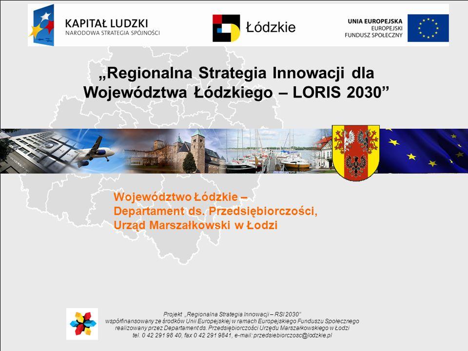 Województwo Łódzkie – Departament ds. Przedsiębiorczości, Urząd Marszałkowski w Łodzi Projekt Regionalna Strategia Innowacji – RSI 2030 współfinansowa
