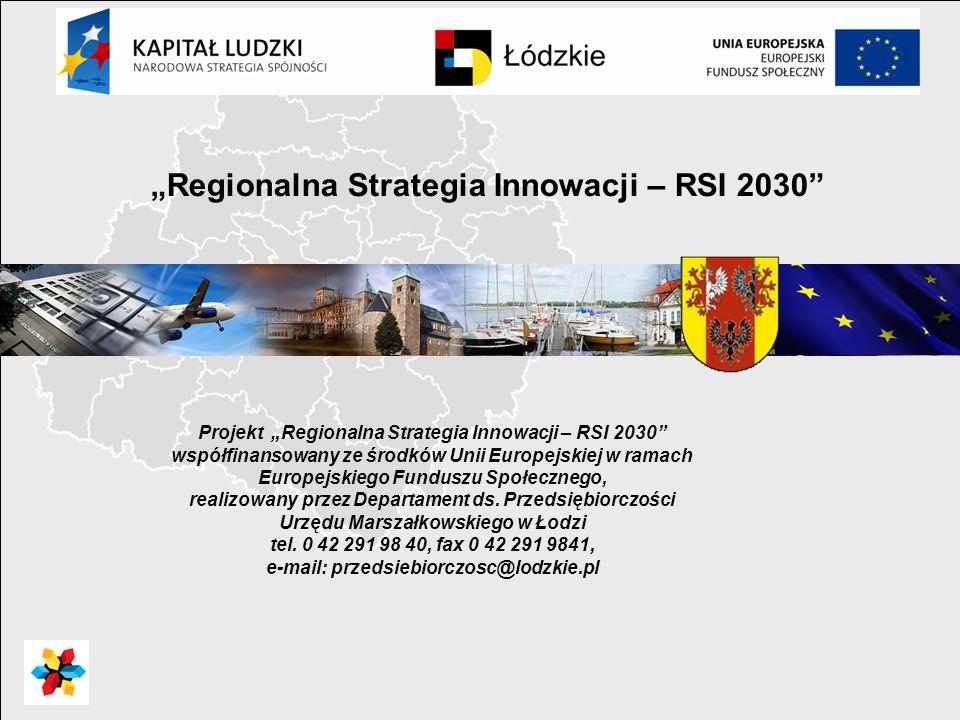 Regionalna Strategia Innowacji – RSI 2030 Projekt Regionalna Strategia Innowacji – RSI 2030 współfinansowany ze środków Unii Europejskiej w ramach Eur