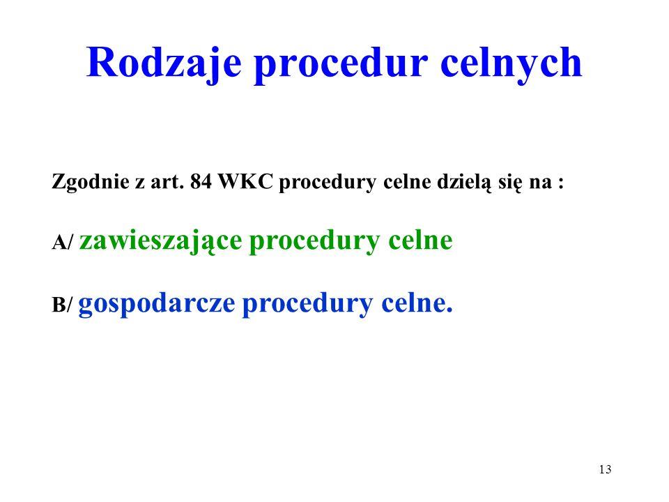 Procedura celna to sposób postępowania obejmujący: 1) dopuszczenie do obrotu; 2) tranzyt; 3) skład celny; 4) uszlachetnianie czynne: a) w systemie zaw