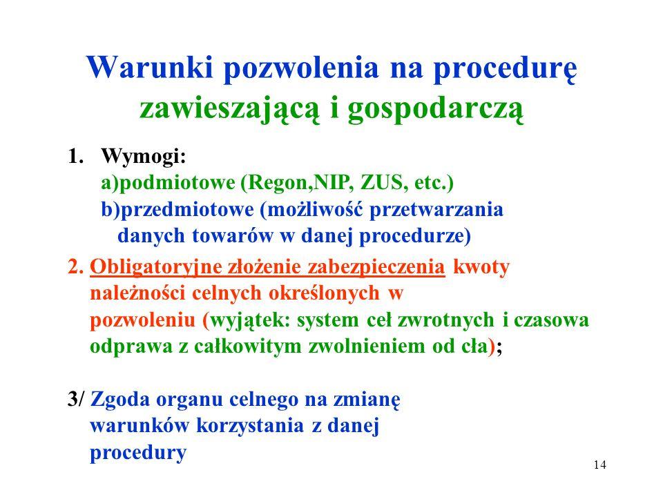 Rodzaje procedur celnych Zgodnie z art. 84 WKC procedury celne dzielą się na : A/ zawieszające procedury celne B/ gospodarcze procedury celne. 13
