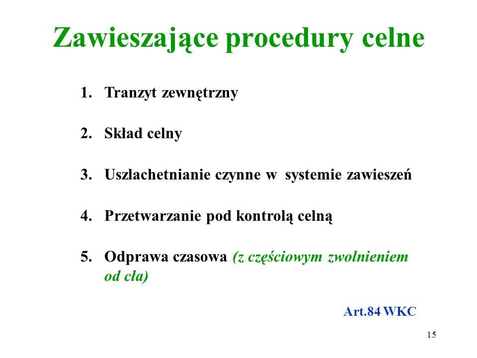 Warunki pozwolenia na procedurę zawieszającą i gospodarczą 1.Wymogi: a)podmiotowe (Regon,NIP, ZUS, etc.) b)przedmiotowe (możliwość przetwarzania danyc