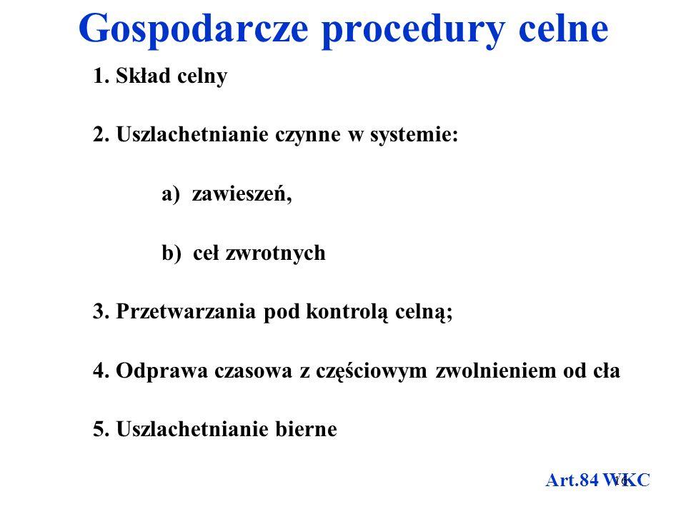 Zawieszające procedury celne 1.Tranzyt zewnętrzny 2.Skład celny 3.Uszlachetnianie czynne w systemie zawieszeń 4.Przetwarzanie pod kontrolą celną 5.Odp