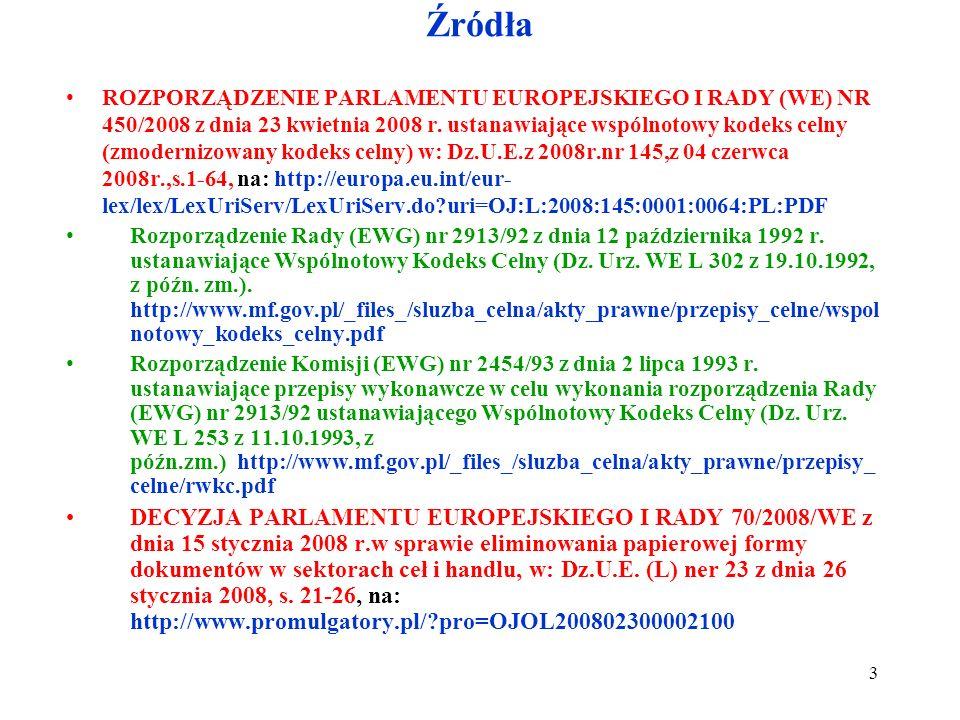Źródła ROZPORZĄDZENIE PARLAMENTU EUROPEJSKIEGO I RADY (WE) NR 450/2008 z dnia 23 kwietnia 2008 r.