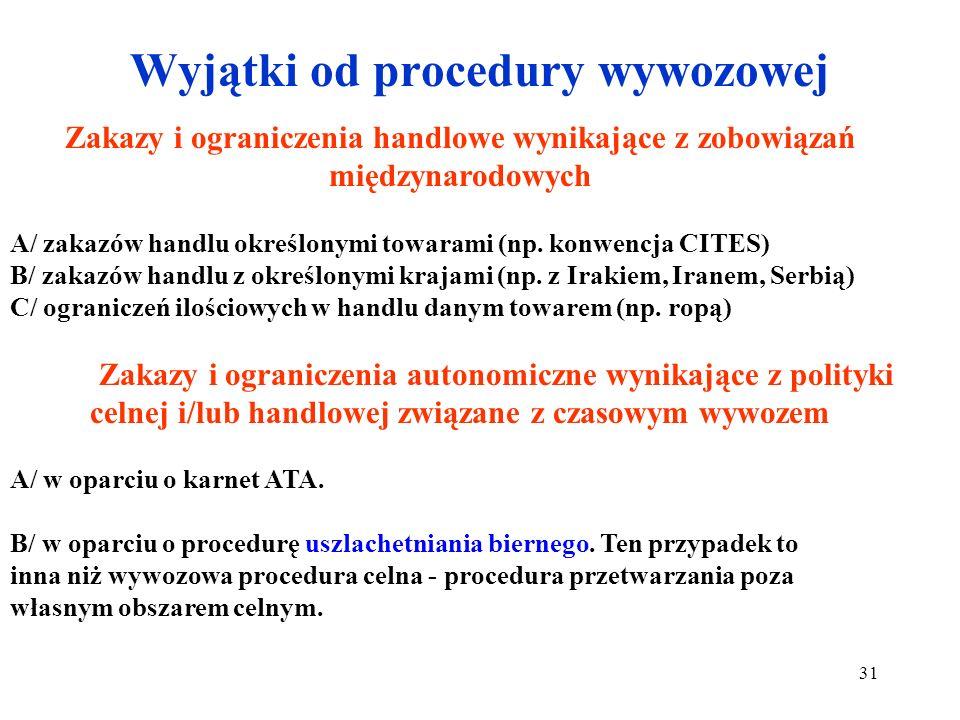 Wywóz i procedura wywozowa Towar wyprowadzany na stałe (odprawa ostateczna w wywozie) poza obszar celny (z wyjątkami np. do uszlachetniania biernego l