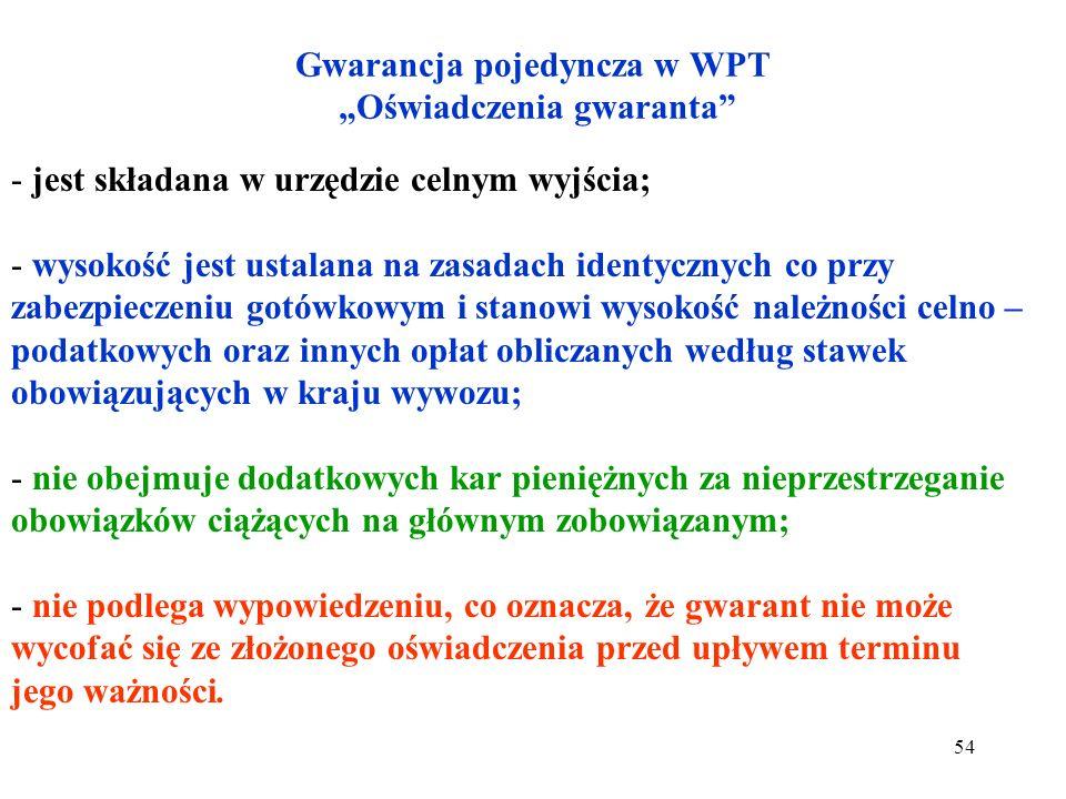 Rodzaje zabezpieczeń w WPT 1.Zabezpieczenie gotówkowe. 2.Gwarancję pojedynczą. 3.Gwarancję ryczałtową. 4.Gwarancję generalną. Główny zobowiązany może
