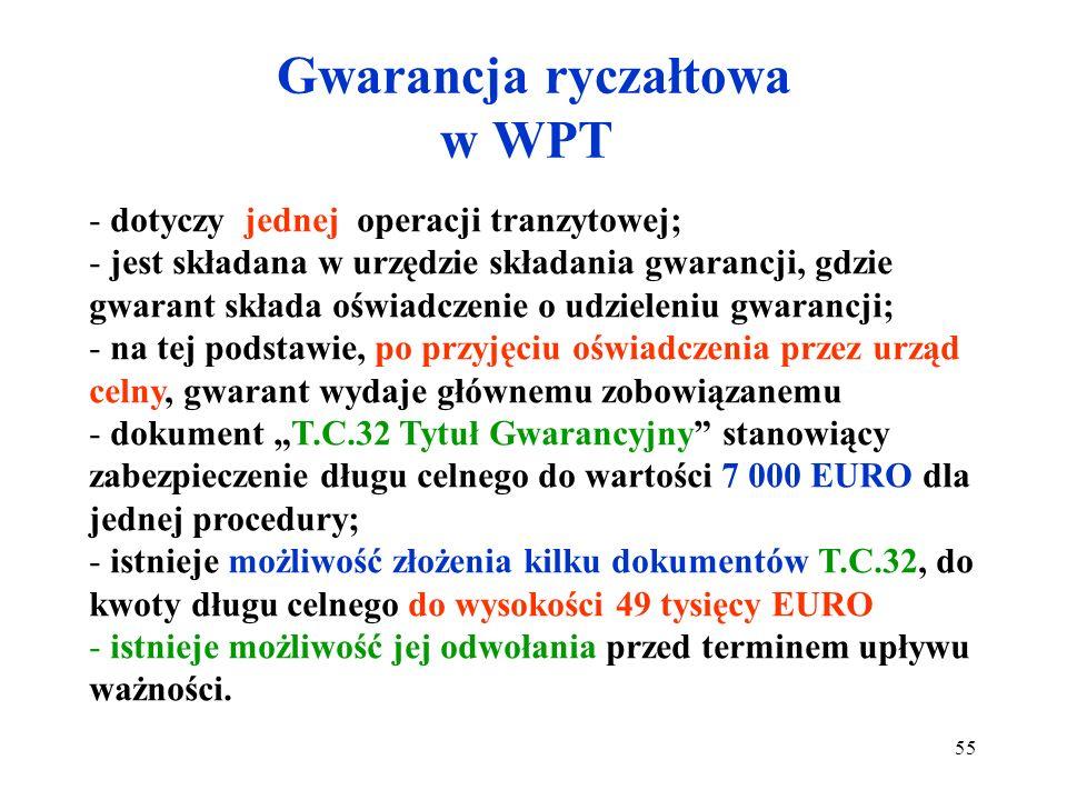 Gwarancja pojedyncza w WPT Oświadczenia gwaranta - jest składana w urzędzie celnym wyjścia; - wysokość jest ustalana na zasadach identycznych co przy