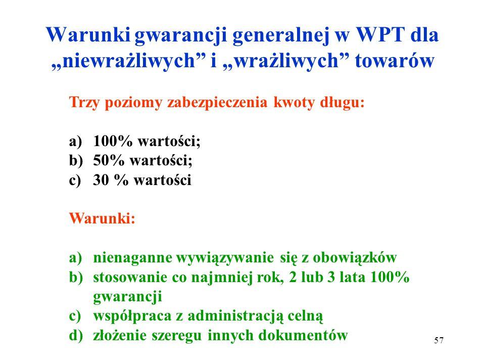 Gwarancja generalna w WPT Dokument T.C.31 Poświadczenie gwarancji jest formularzem gwarancji generalnej i może być wykorzystany nieograniczoną liczbę