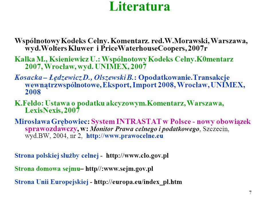 Literatura K.Lasiński-Sulecki,W.Morawski,C.Sowiński,M.Śpiewak: Wspólnotowy Kodeks Celny i przepisy wykonawcze-teksty, literatura, orzecznictwo, Wwa, W