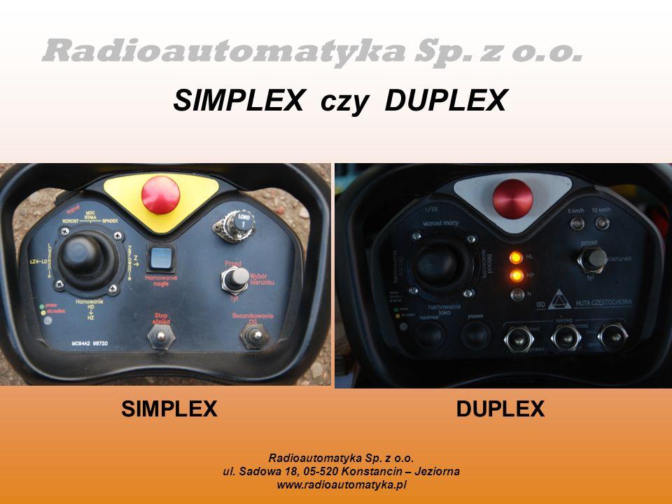 Radioautomatyka Sp. z o.o. SIMPLEX czy DUPLEX SIMPLEXDUPLEX Radioautomatyka Sp. z o.o. ul. Sadowa 18, 05-520 Konstancin – Jeziorna www.radioautomatyka