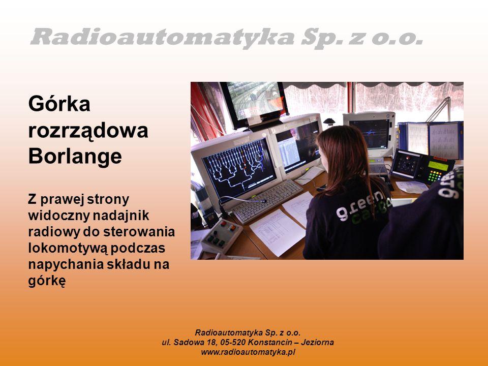 Radioautomatyka Sp. z o.o. Górka rozrządowa Borlange Z prawej strony widoczny nadajnik radiowy do sterowania lokomotywą podczas napychania składu na g