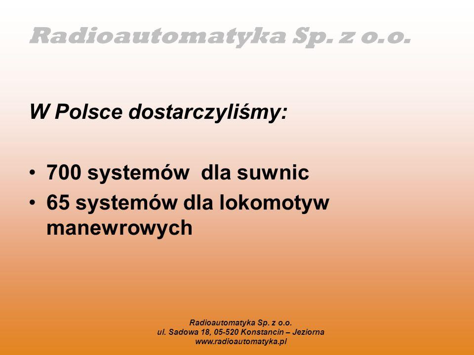 Radioautomatyka Sp. z o.o. ul. Sadowa 18, 05-520 Konstancin – Jeziorna www.radioautomatyka.pl W Polsce dostarczyliśmy: 700 systemów dla suwnic 65 syst