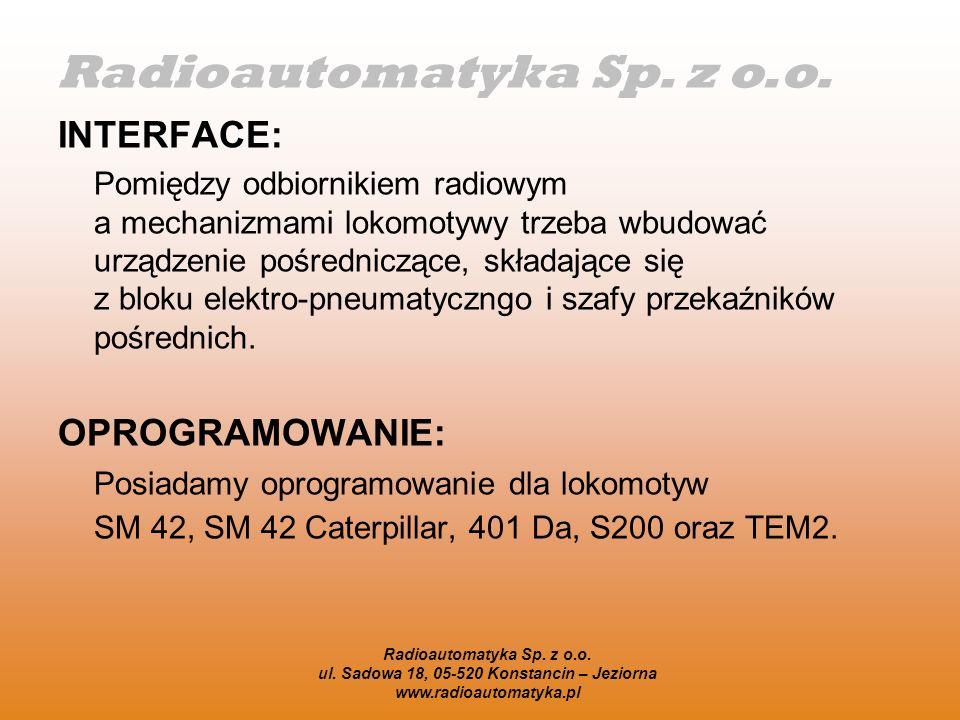 Radioautomatyka Sp. z o.o. ul. Sadowa 18, 05-520 Konstancin – Jeziorna www.radioautomatyka.pl INTERFACE: Pomiędzy odbiornikiem radiowym a mechanizmami