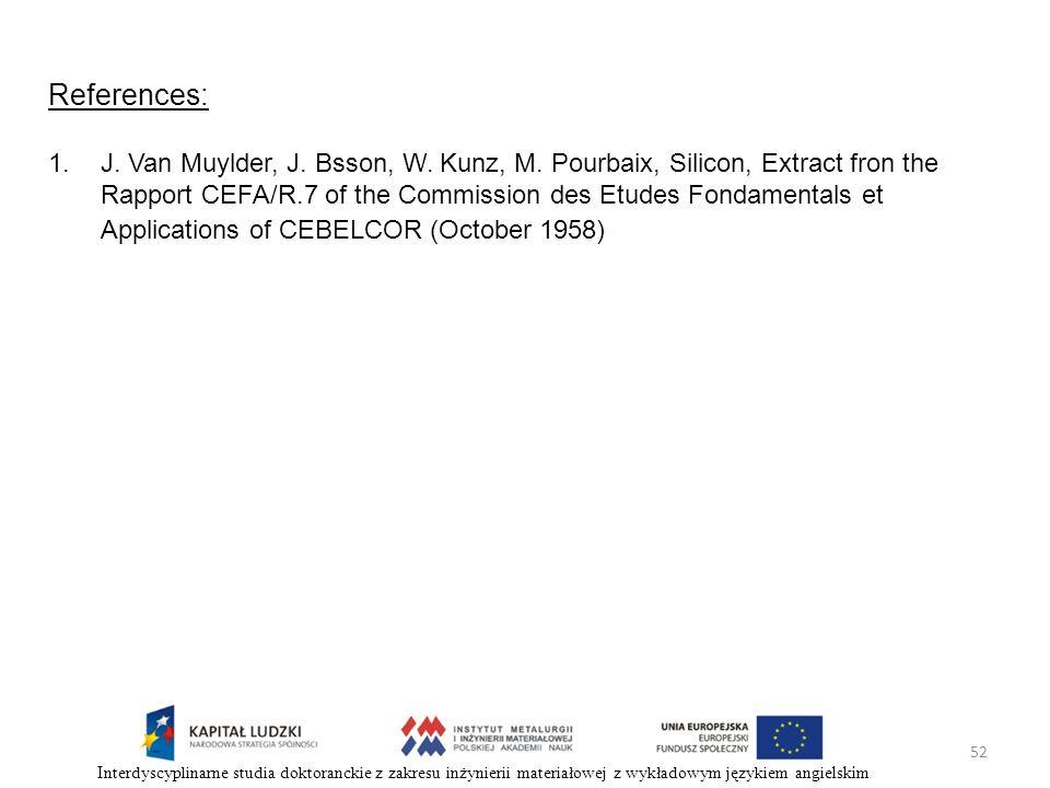 52 Interdyscyplinarne studia doktoranckie z zakresu inżynierii materiałowej z wykładowym językiem angielskim References: 1.J. Van Muylder, J. Bsson, W