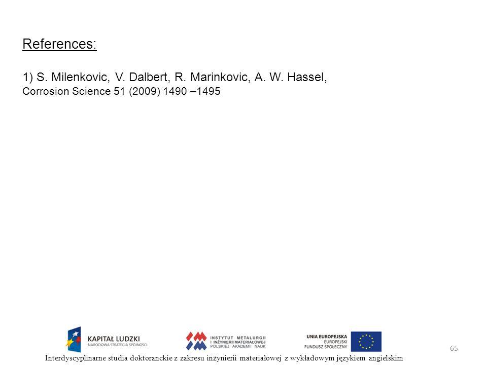 65 Interdyscyplinarne studia doktoranckie z zakresu inżynierii materiałowej z wykładowym językiem angielskim References: 1) S. Milenkovic, V. Dalbert,