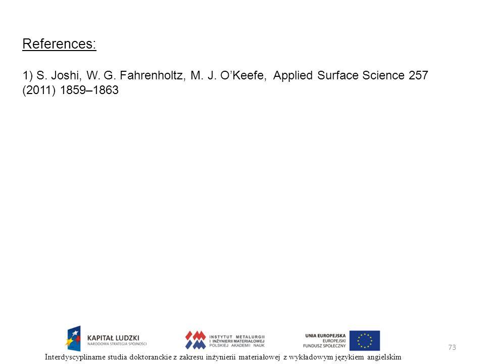 73 Interdyscyplinarne studia doktoranckie z zakresu inżynierii materiałowej z wykładowym językiem angielskim References: 1) S. Joshi, W. G. Fahrenholt