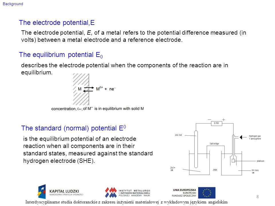 Background The electrode potential,E The electrode potential, E, of a metal refers to the potential difference measured (in volts) between a metal ele
