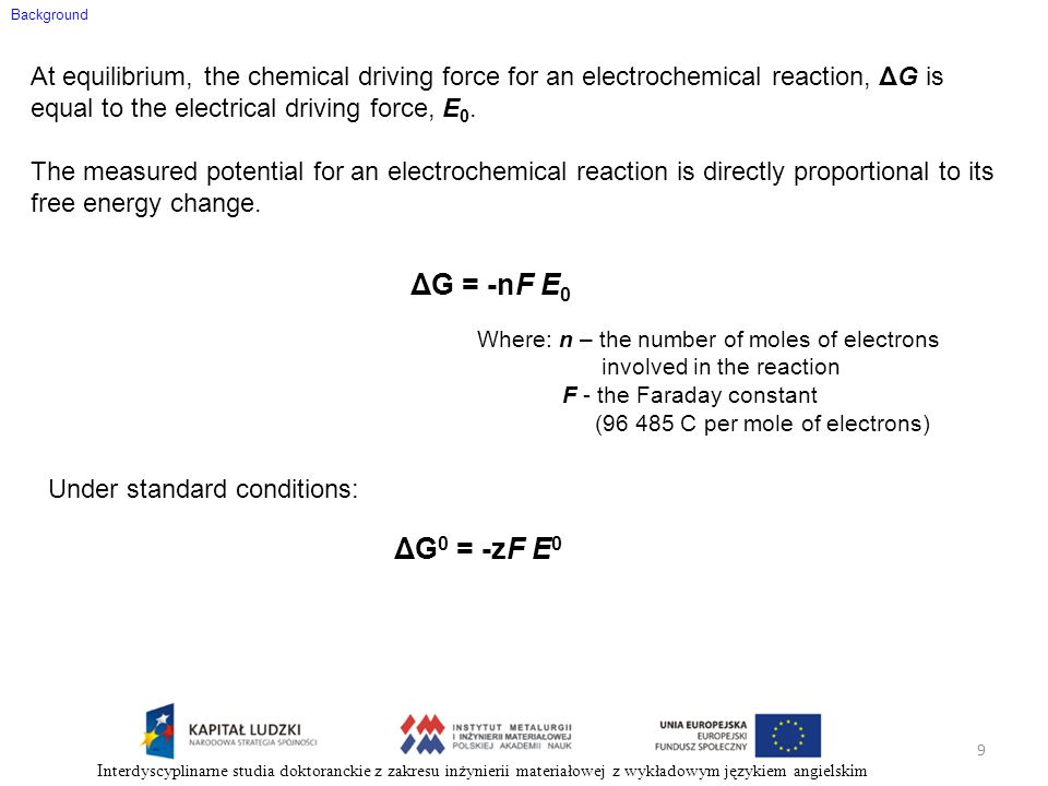 Background At equilibrium, the chemical driving force for an electrochemical reaction, ΔG is equal to the electrical driving force, E 0. The measured