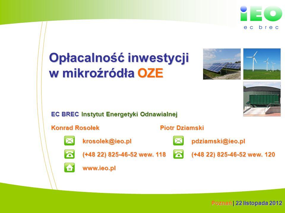 (C) IEO 20121 Opłacalność inwestycji w mikroźródła OZE Konrad Rosołek krosolek@ieo.pl EC BREC Instytut Energetyki Odnawialnej (+48 22) 825-46-52 wew.