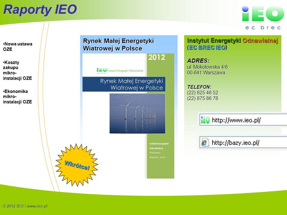 (C) IEO 201222 © 2012 IEO | www.ieo.pl Raporty IEO Rynek Małej Energetyki Wiatrowej w Polsce Wkrótce! Instytut Energetyki Odnawialnej (EC BREC IEO) AD