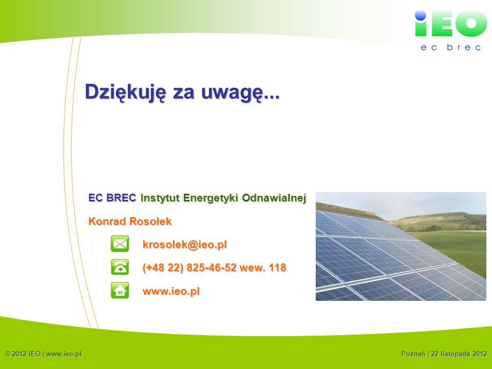 (C) IEO 201223 Dziękuję za uwagę... Konrad Rosołek krosolek@ieo.pl EC BREC Instytut Energetyki Odnawialnej (+48 22) 825-46-52 wew. 118 www.ieo.pl © 20