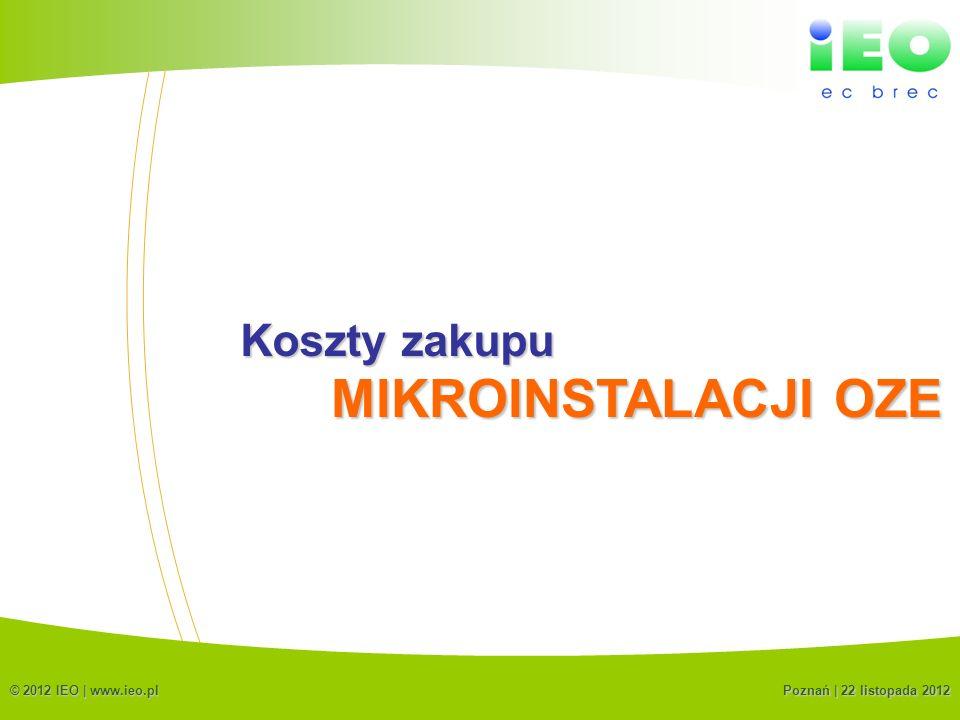 (C) IEO 20126 Koszty zakupu © 2012 IEO | www.ieo.pl MIKROINSTALACJI OZE Poznań | 22 listopada 2012