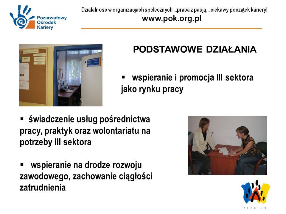 Działalność w organizacjach społecznych...praca z pasją... ciekawy początek kariery! www.pok.org.pl PODSTAWOWE DZIAŁANIA wspieranie i promocja III sek