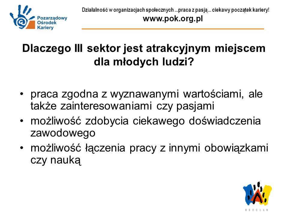 Działalność w organizacjach społecznych...praca z pasją... ciekawy początek kariery! www.pok.org.pl Dlaczego III sektor jest atrakcyjnym miejscem dla
