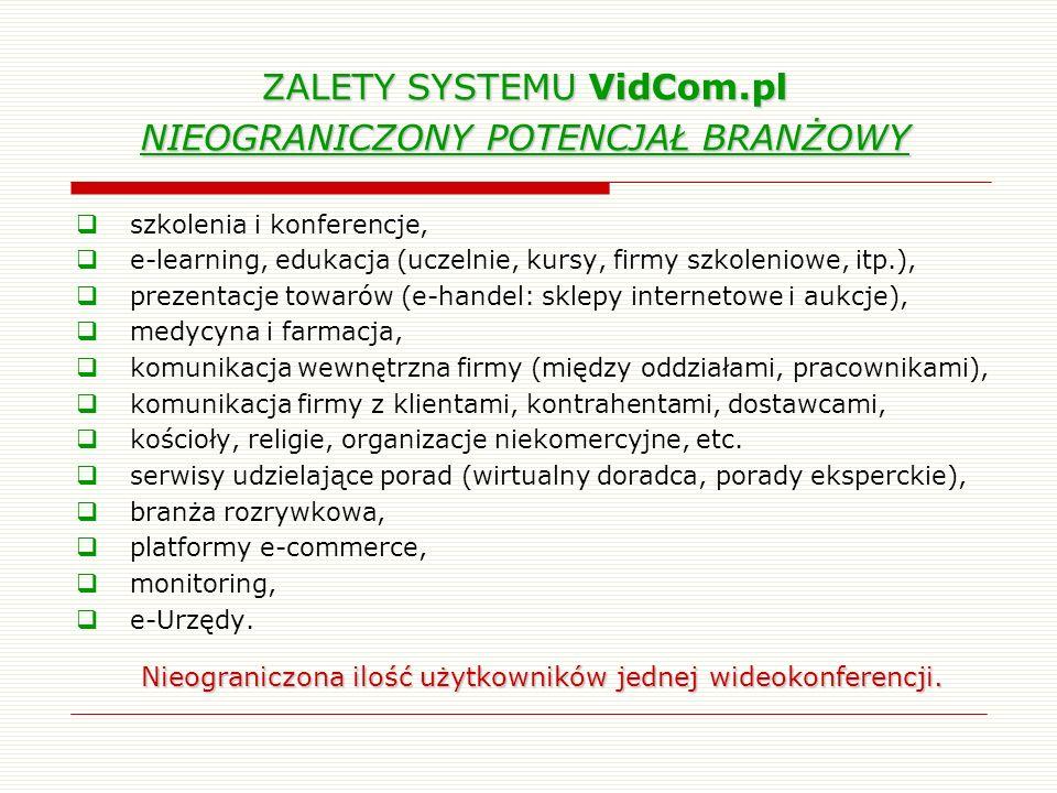 ZALETY SYSTEMU VidCom.pl NIEOGRANICZONY POTENCJAŁ BRANŻOWY szkolenia i konferencje, e-learning, edukacja (uczelnie, kursy, firmy szkoleniowe, itp.), p