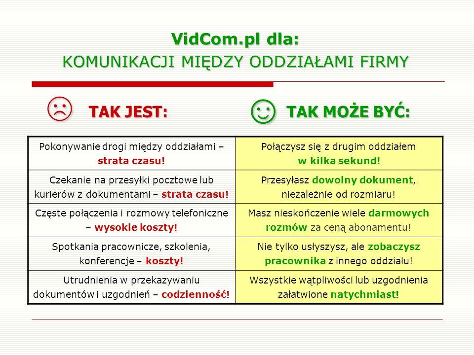 VidCom.pl dla: KOMUNIKACJI MIĘDZY ODDZIAŁAMI FIRMY Pokonywanie drogi między oddziałami – strata czasu! Połączysz się z drugim oddziałem w kilka sekund