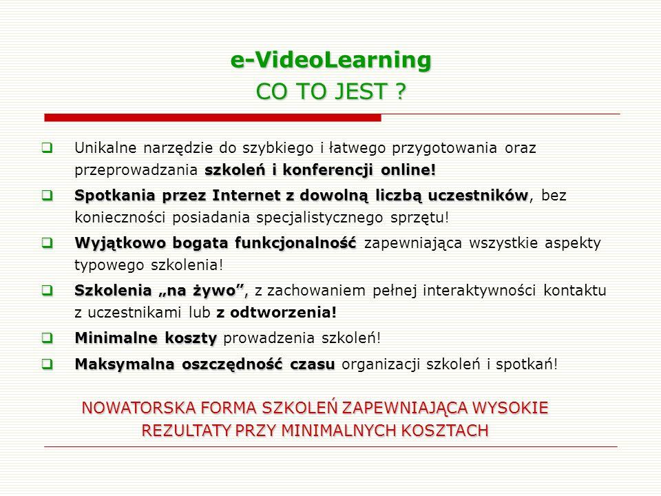 e-VideoLearning CO TO JEST ? szkoleń i konferencji online! Unikalne narzędzie do szybkiego i łatwego przygotowania oraz przeprowadzania szkoleń i konf