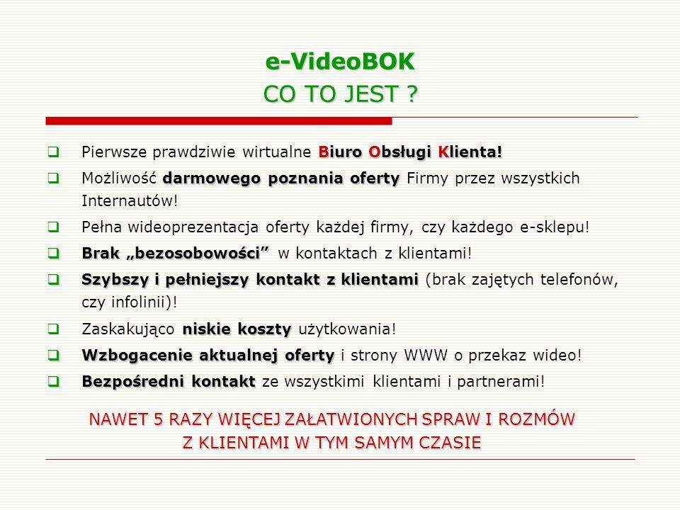 e-VideoBOK CO TO JEST ? Biuro Obsługi Klienta! Pierwsze prawdziwie wirtualne Biuro Obsługi Klienta! darmowego poznania oferty Możliwość darmowego pozn