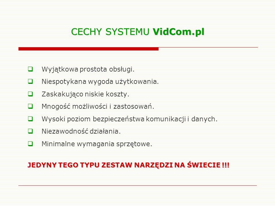 CECHY SYSTEMU VidCom.pl Wyjątkowa prostota obsługi. Niespotykana wygoda użytkowania. Zaskakująco niskie koszty. Mnogość możliwości i zastosowań. Wysok