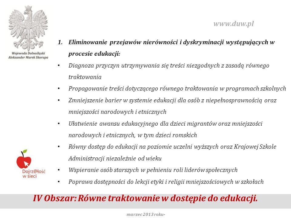 IV Obszar: Równe traktowanie w dostępie do edukacji. - marzec 2013 roku- www.duw.pl 1.Eliminowanie przejawów nierówności i dyskryminacji występujących