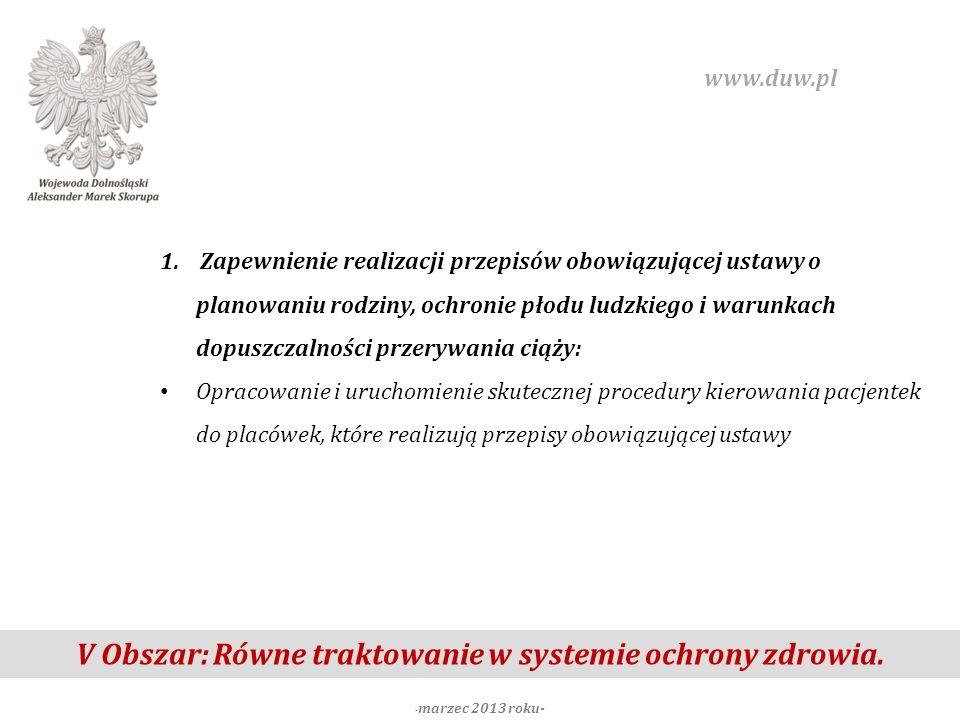 V Obszar: Równe traktowanie w systemie ochrony zdrowia. - marzec 2013 roku- www.duw.pl 1. Zapewnienie realizacji przepisów obowiązującej ustawy o plan