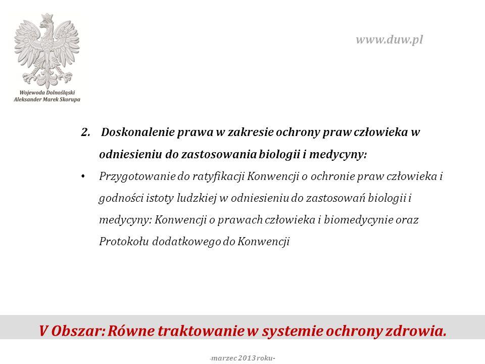 V Obszar: Równe traktowanie w systemie ochrony zdrowia. - marzec 2013 roku- www.duw.pl 2. Doskonalenie prawa w zakresie ochrony praw człowieka w odnie