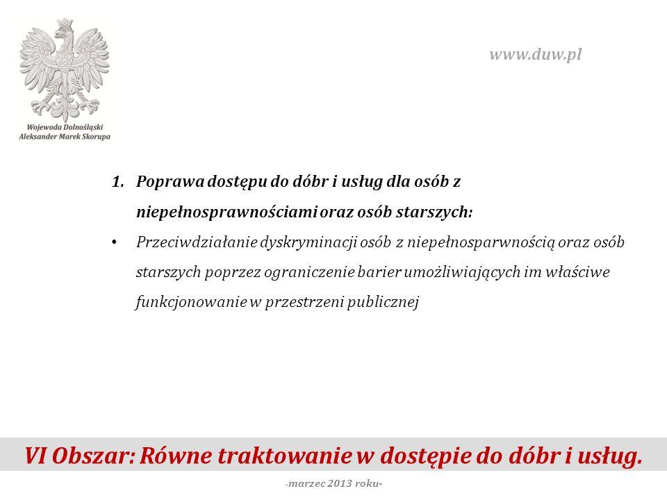 VI Obszar: Równe traktowanie w dostępie do dóbr i usług. - marzec 2013 roku- www.duw.pl 1.Poprawa dostępu do dóbr i usług dla osób z niepełnosprawnośc