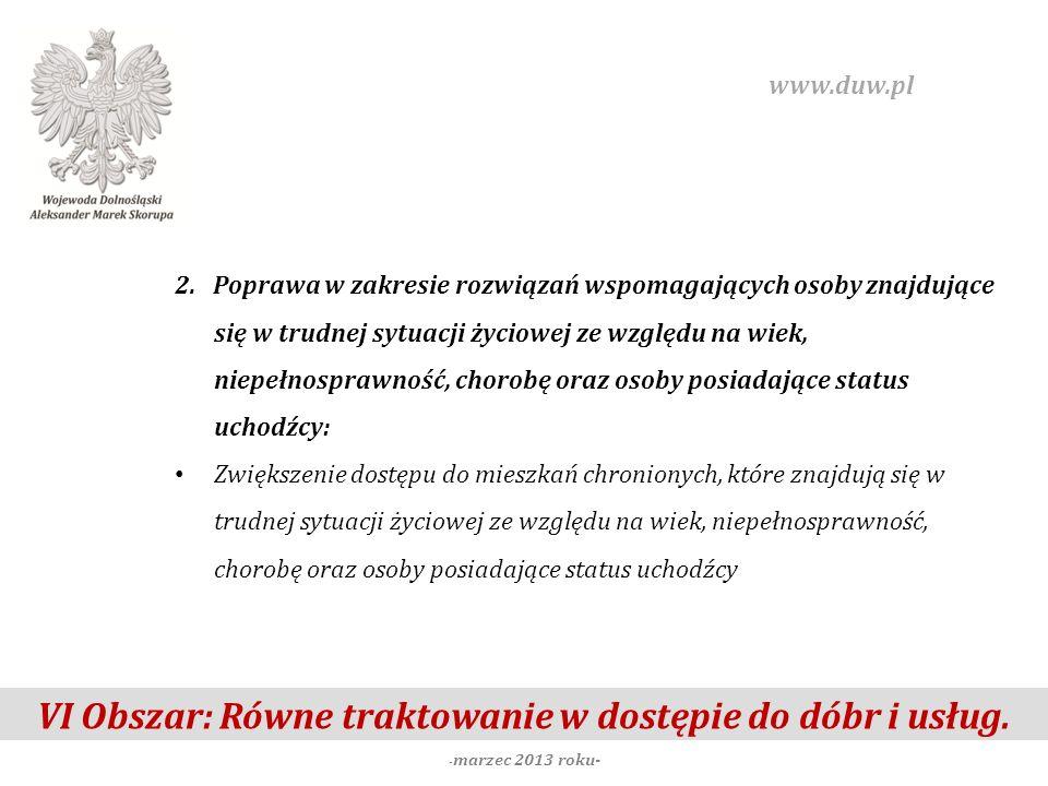 VI Obszar: Równe traktowanie w dostępie do dóbr i usług. - marzec 2013 roku- www.duw.pl 2. Poprawa w zakresie rozwiązań wspomagających osoby znajdując
