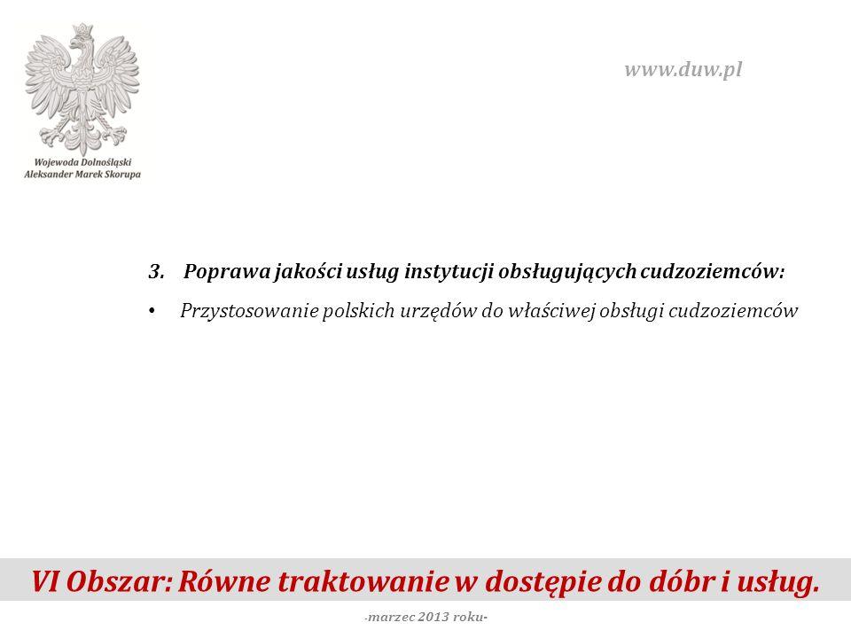 VI Obszar: Równe traktowanie w dostępie do dóbr i usług. - marzec 2013 roku- www.duw.pl 3. Poprawa jakości usług instytucji obsługujących cudzoziemców
