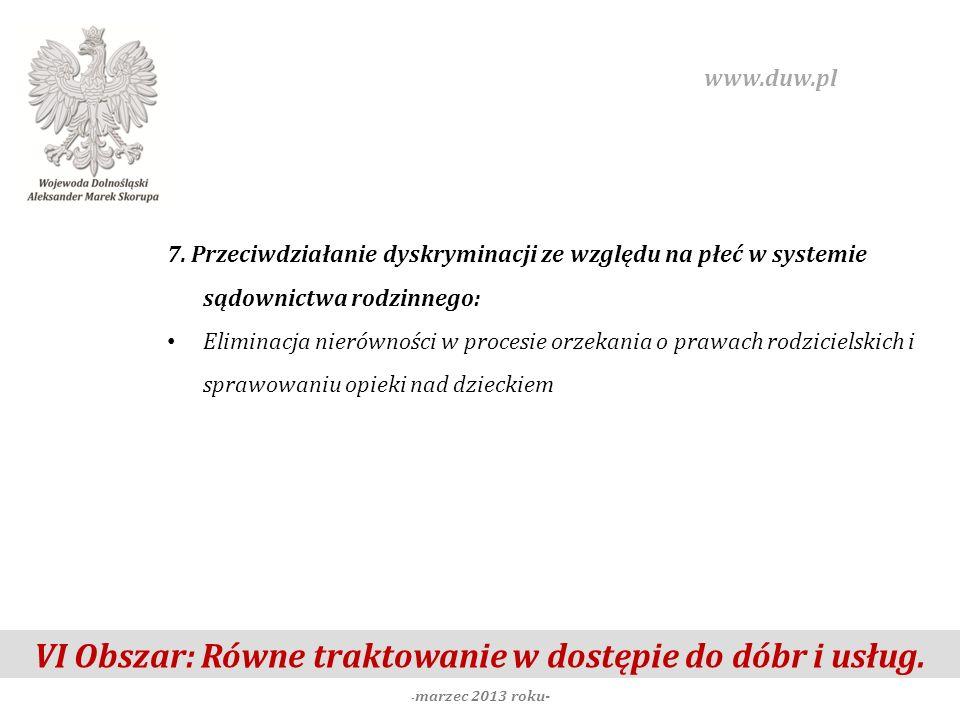 VI Obszar: Równe traktowanie w dostępie do dóbr i usług. - marzec 2013 roku- www.duw.pl 7. Przeciwdziałanie dyskryminacji ze względu na płeć w systemi