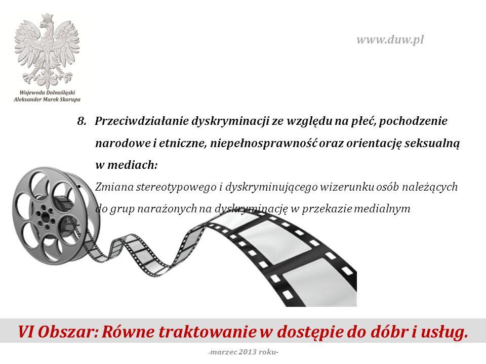 VI Obszar: Równe traktowanie w dostępie do dóbr i usług. - marzec 2013 roku- www.duw.pl 8. Przeciwdziałanie dyskryminacji ze względu na płeć, pochodze