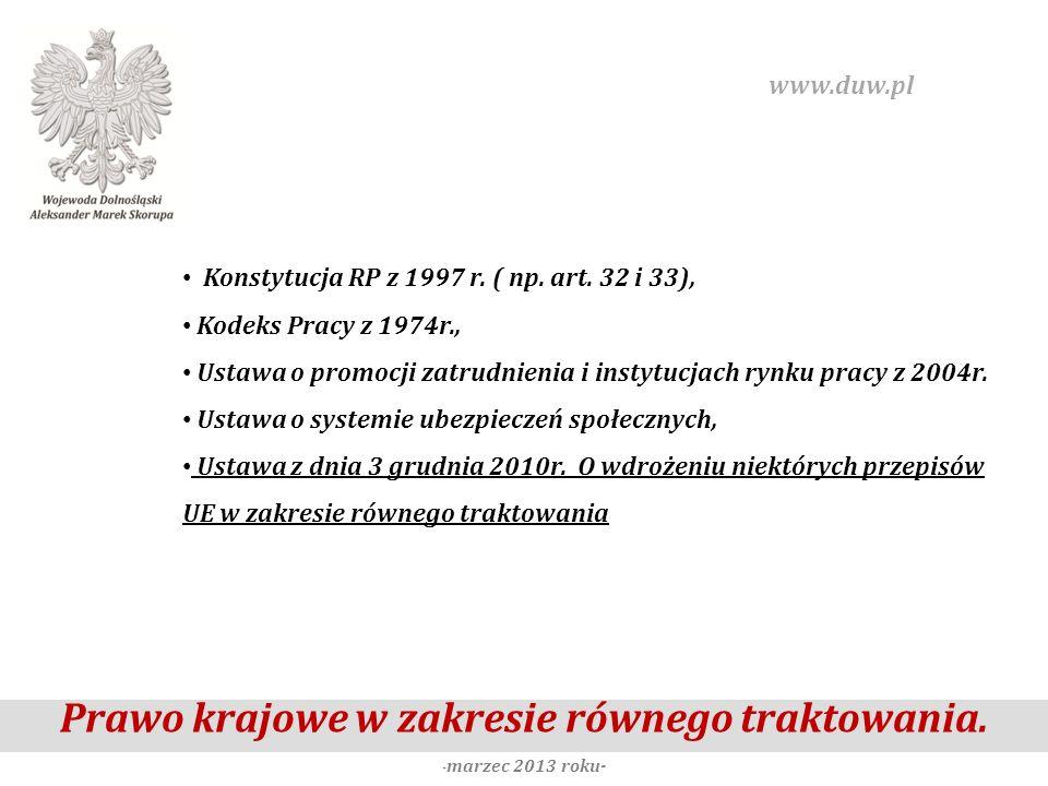 Prawo krajowe w zakresie równego traktowania. - marzec 2013 roku- www.duw.pl Konstytucja RP z 1997 r. ( np. art. 32 i 33), Kodeks Pracy z 1974r., Usta