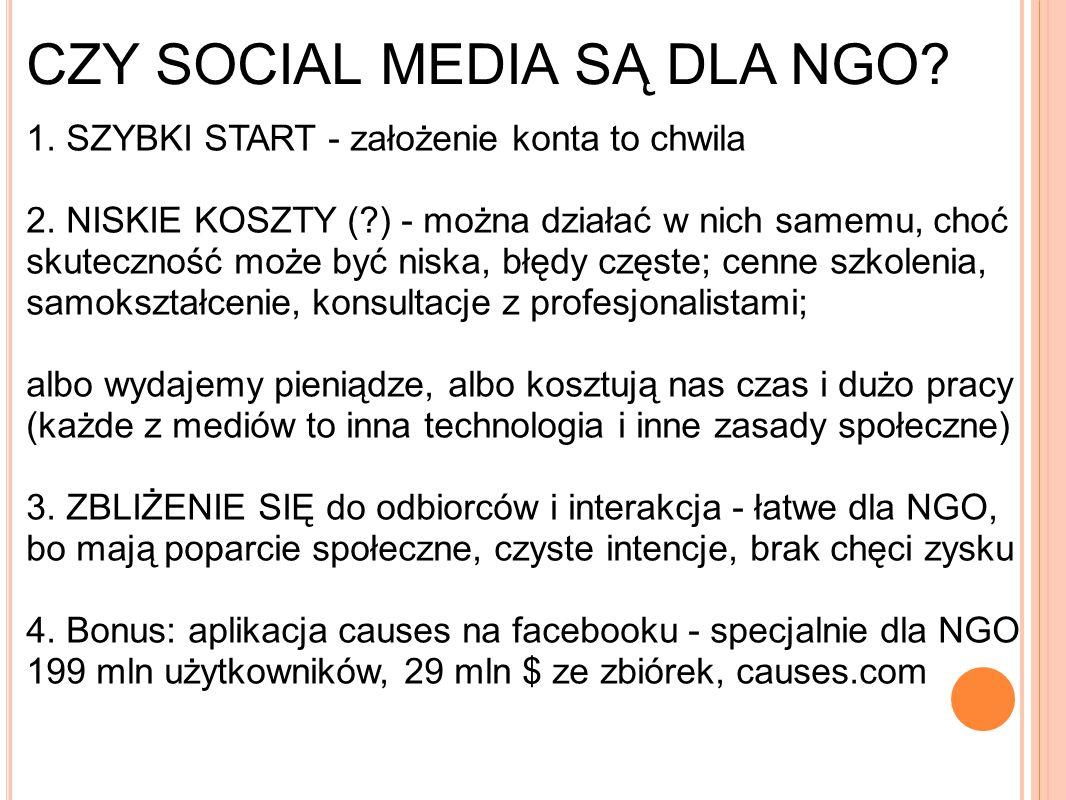 CZY SOCIAL MEDIA SĄ DLA NGO. 1. SZYBKI START - założenie konta to chwila 2.