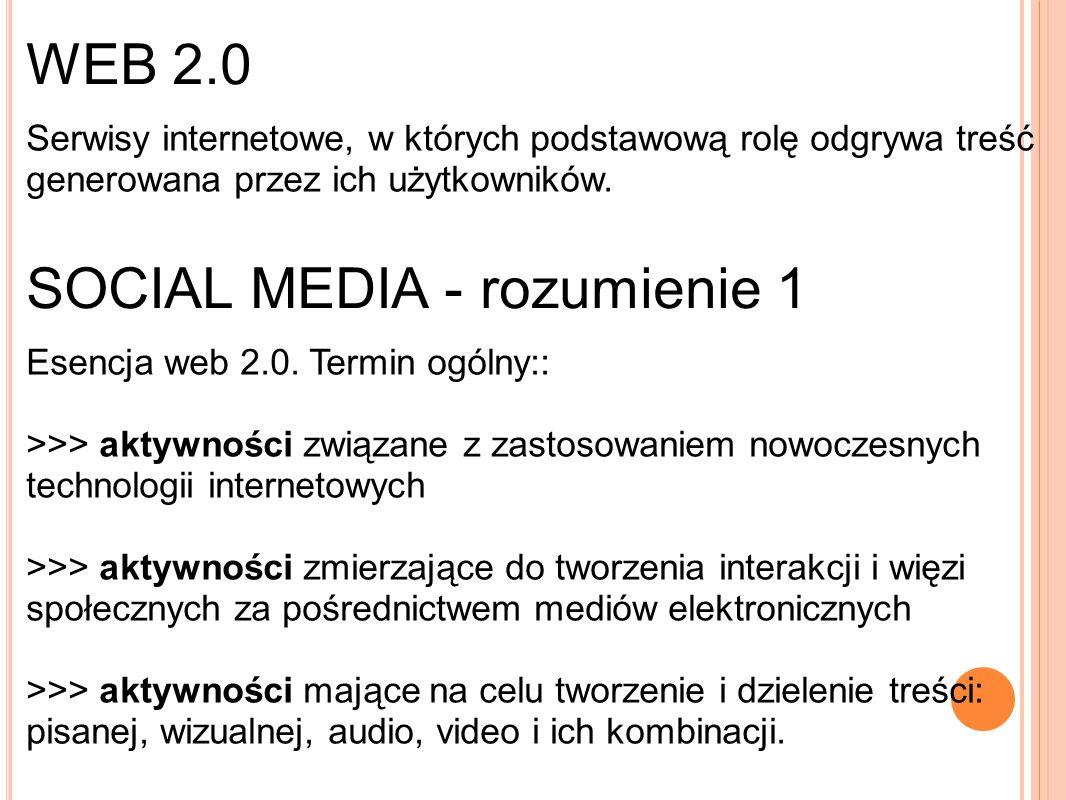 WEB 2.0 Serwisy internetowe, w których podstawową rolę odgrywa treść generowana przez ich użytkowników.
