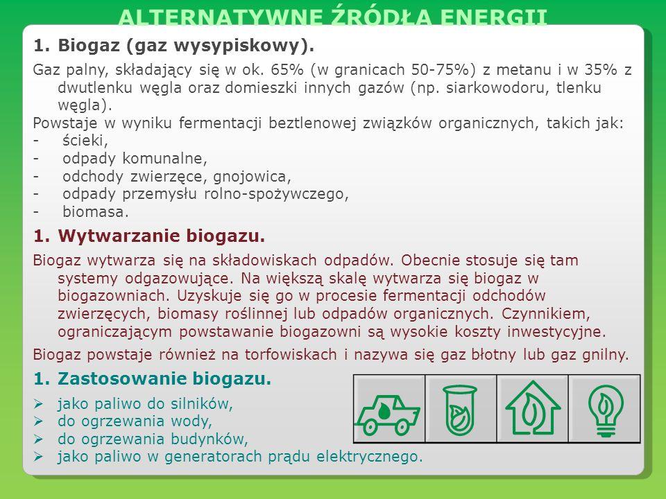 1.Biogaz (gaz wysypiskowy). Gaz palny, składający się w ok. 65% (w granicach 50-75%) z metanu i w 35% z dwutlenku węgla oraz domieszki innych gazów (n