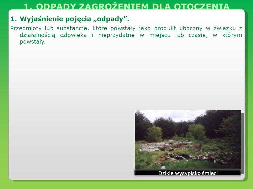 1.ODPADY ZAGROŻENIEM DLA OTOCZENIA 1.Podział odpadów.