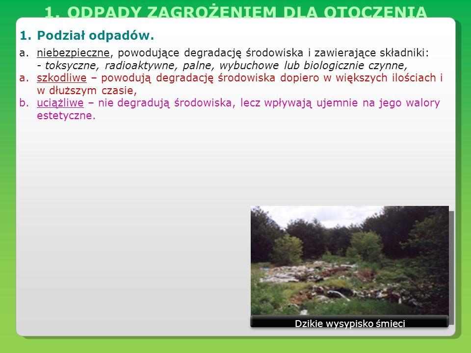 1.ODPADY ZAGROŻENIEM DLA OTOCZENIA 1.Podział odpadów. a.niebezpieczne, powodujące degradację środowiska i zawierające składniki: - toksyczne, radioakt