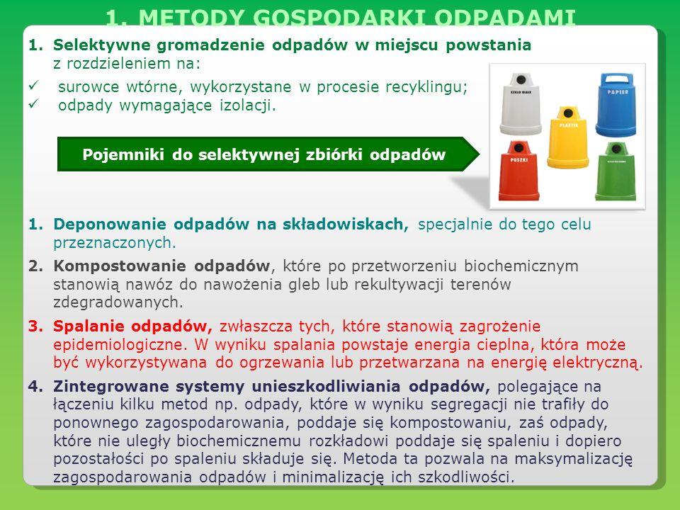 1.METODY GOSPODARKI ODPADAMI 1.Selektywne gromadzenie odpadów w miejscu powstania z rozdzieleniem na: surowce wtórne, wykorzystane w procesie recyklin