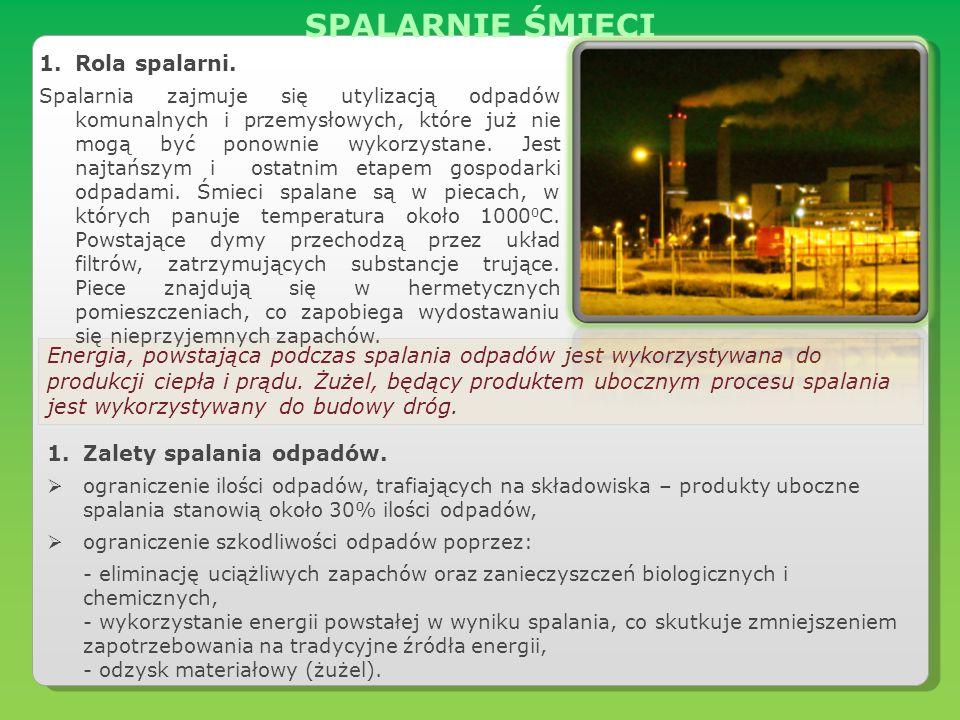 Energia, powstająca podczas spalania odpadów jest wykorzystywana do produkcji ciepła i prądu. Żużel, będący produktem ubocznym procesu spalania jest w