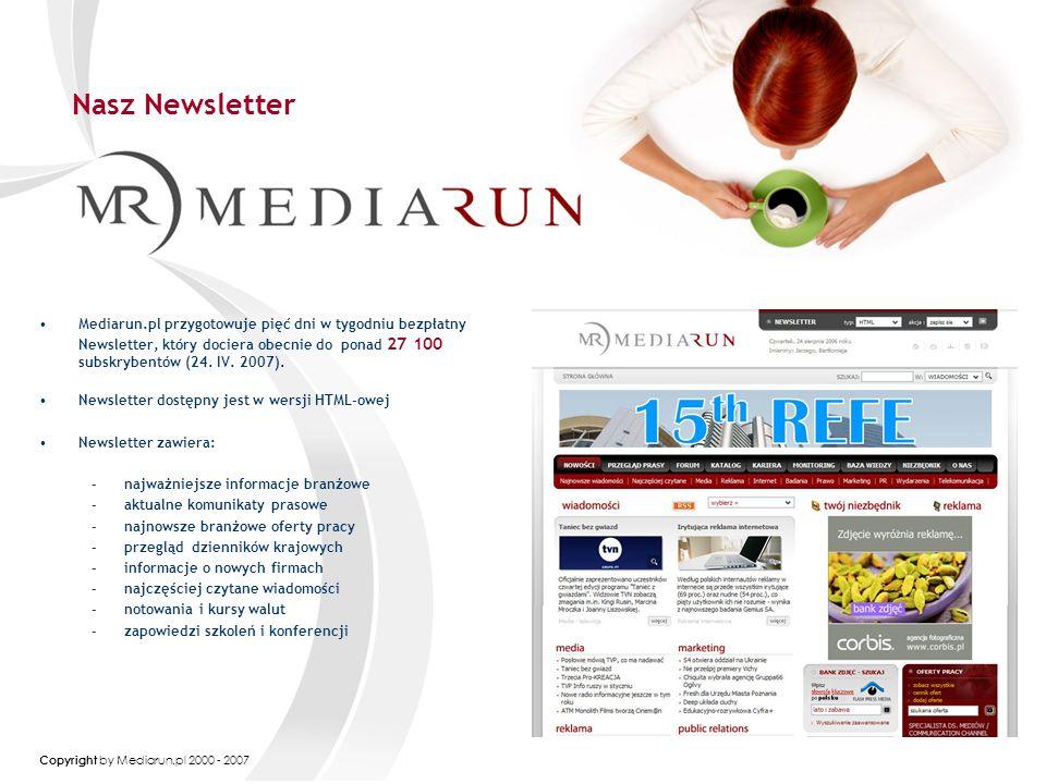 Copyright by Mediarun.pl 2000 - 2007 Cennik Mediarun.pl Przykładowe formy reklamy Billboard 750 x 100 do 25 kB + Brand Mark 400 x 400, do 20 kB i max 15s ROS CPM - 350 PLN Netto