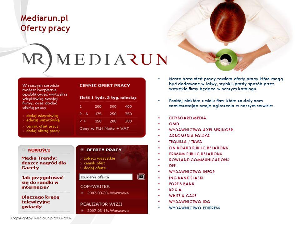Copyright by Mediarun.pl 2000 - 2007 Jak się z nami skontaktować.